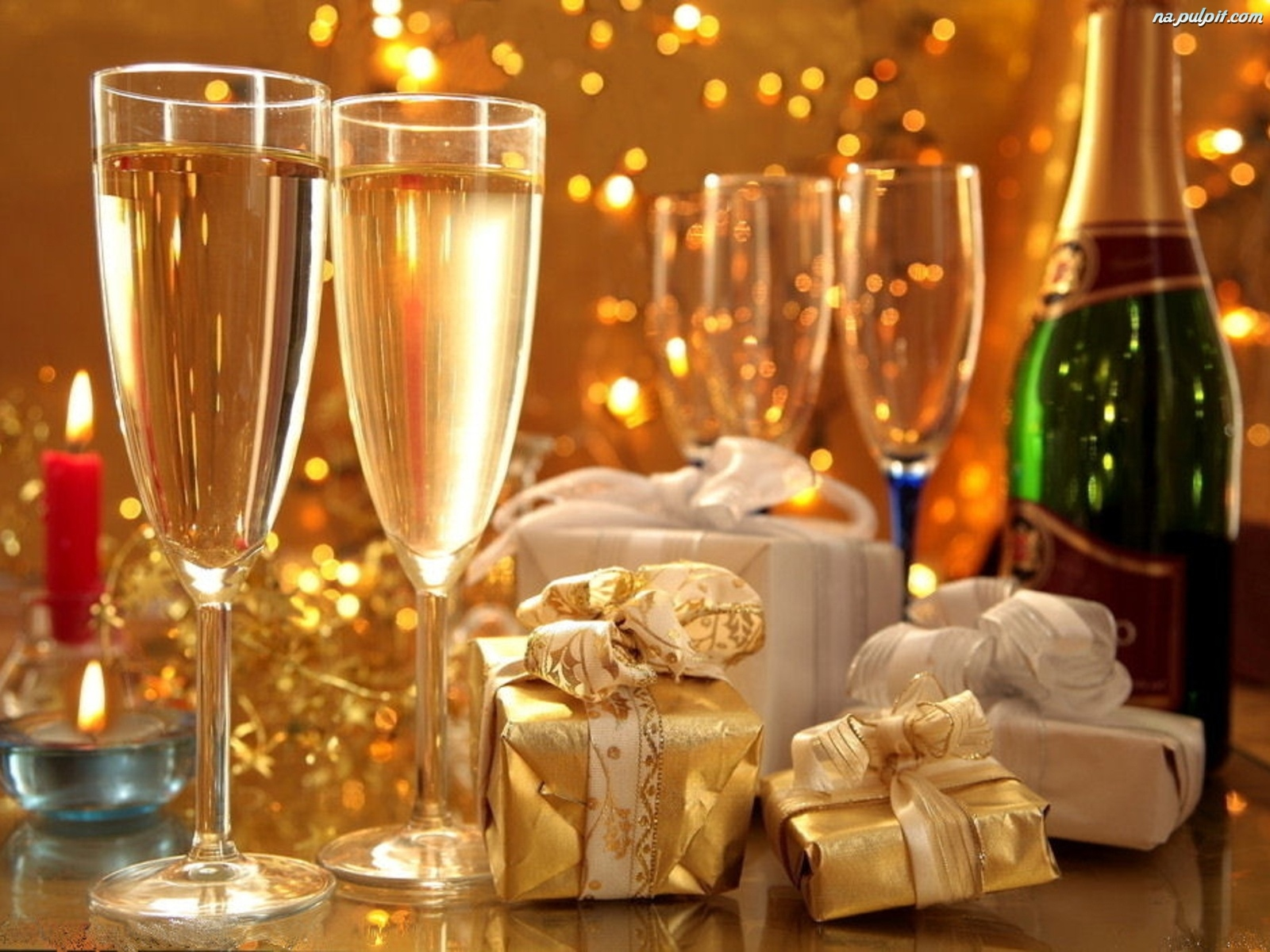 Happy New Year Champagne Golden Image Hd